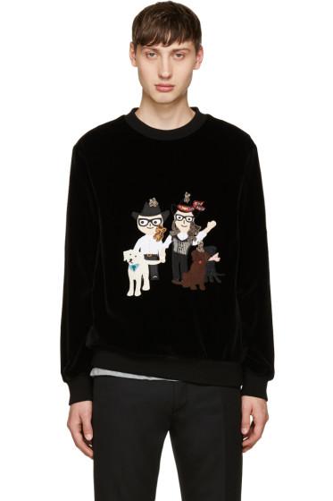 Dolce & Gabbana - Black Velvet Designer Family Pullover