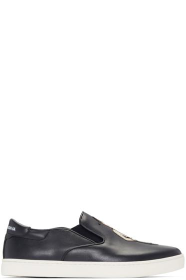 Dolce & Gabbana - Navy Sicilian Slip-On Sneakers