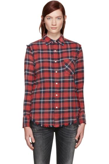 R13 - Red Plaid Inside Out Slim Boy Shirt