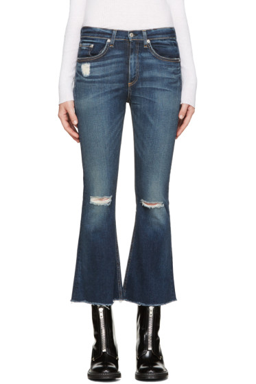 Rag & Bone - Indigo Frayed Crop Flare Jeans