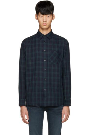 Rag & Bone - Navy & Green Plaid Shirt