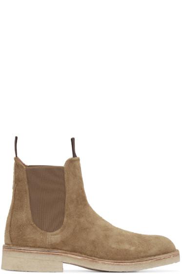 Rag & Bone - Tan Suede Military Chelsea Boots