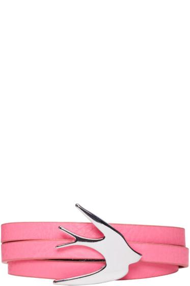 McQ Alexander Mcqueen - Pink Swallow Wrap Bracelet