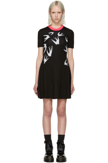 McQ Alexander Mcqueen - Black Jacquard Swallows Dress