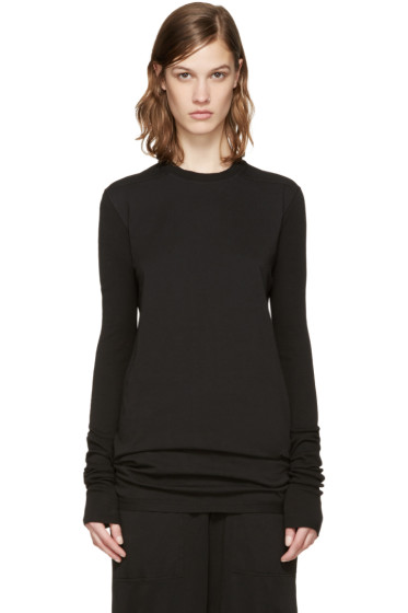 Rick Owens Drkshdw - Black Ribbed Sleeve T-Shirt