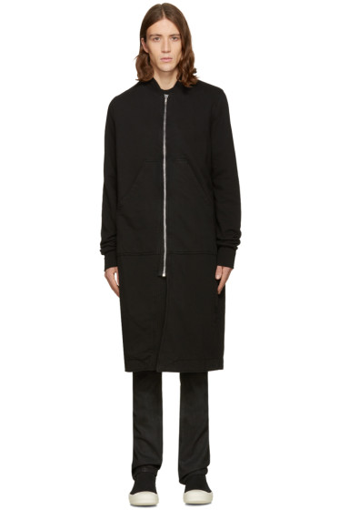 Rick Owens Drkshdw - Black Long Flight Zip Bomber Sweater