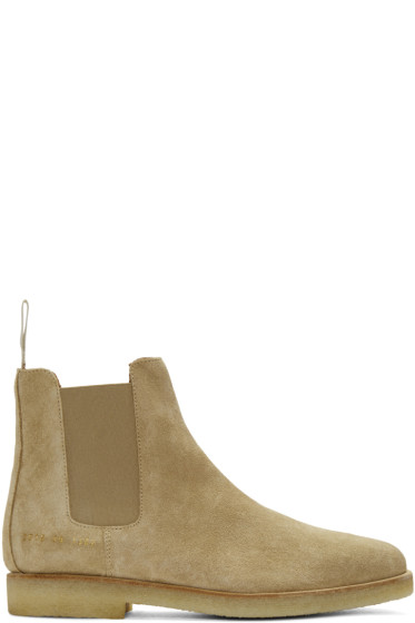 Common Projects - Beige Suede Chelsea Boots