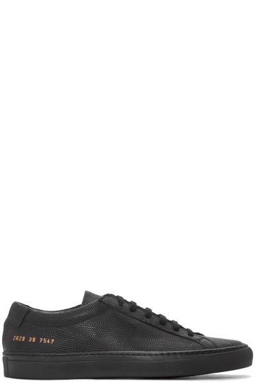 Common Projects - Black Embossed Achilles Sneakers