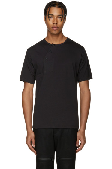 Y-3 - Black Button T-Shirt