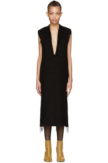 Maison Margiela - Black Alpaca V-Neck Dress