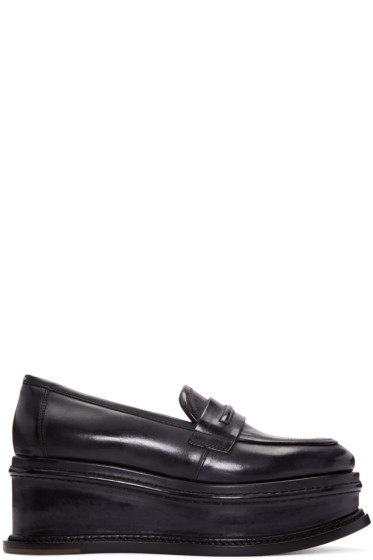 Maison Margiela - Black Leather Platform Loafers