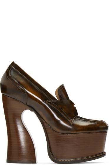 Maison Margiela - Brown Leather Loafer Heels