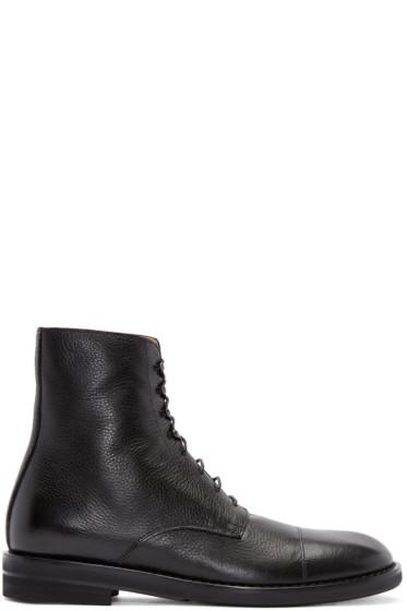Maison Margiela - Black Leather Lace-Up Boots