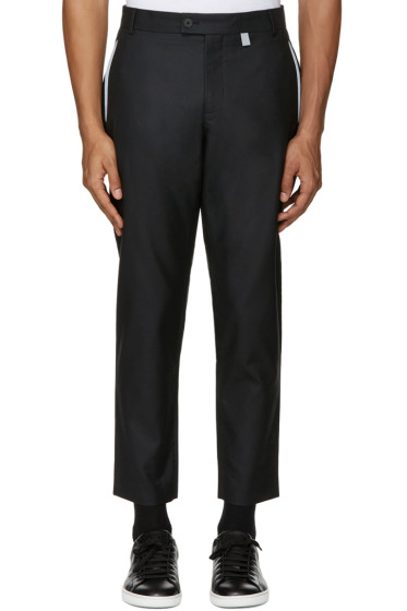 Christopher Kane - Black Reflective Trim Trousers