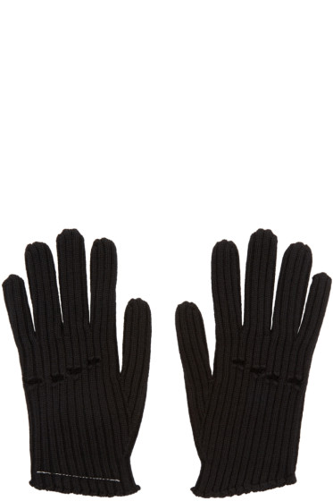 MM6 Maison Margiela - Black Wool Rib Knit Gloves