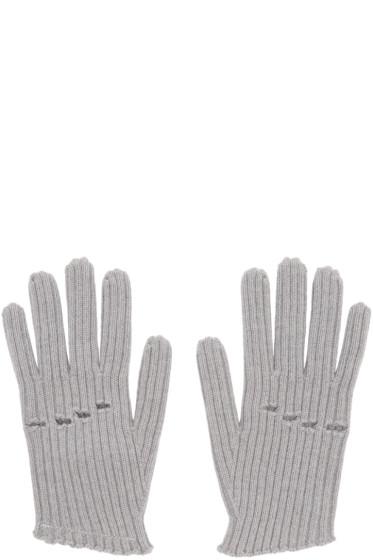 MM6 Maison Margiela - Grey Wool Rib Knit Gloves