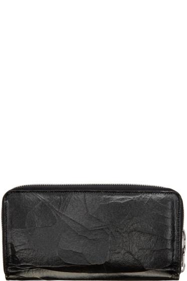 MM6 Maison Margiela - Black Cracked Leather Wallet