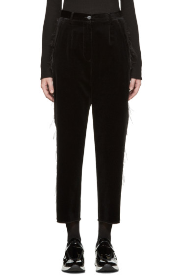 MM6 Maison Margiela - Black Fringed Velvet Trousers