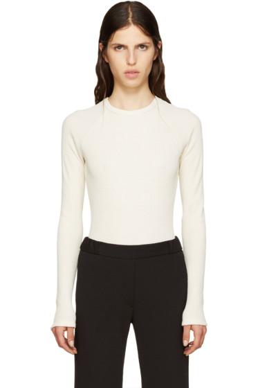 MM6 Maison Margiela - Off-White Waffle Cotton Bodysuit