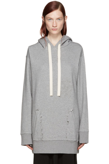 MM6 Maison Margiela - Grey Destroyed Pocket Hoodie