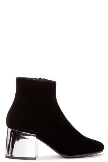 MM6 Maison Margiela - Black Velvet Metallic Boots