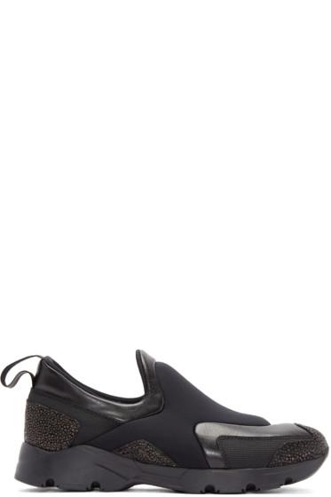 MM6 Maison Margiela - Black Neoprene Slip-On Sneakers