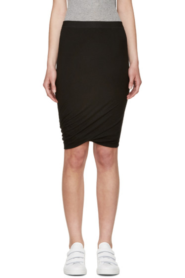 T by Alexander Wang - Black Jersey Draped Skirt