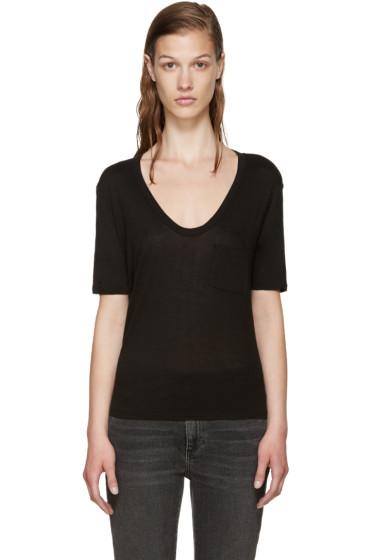 T by Alexander Wang - Black Cropped Pocket T-Shirt