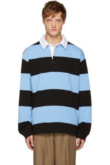 T by Alexander Wang - Blue & Black Striped Polo