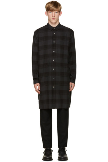 Robert Geller - Grey Long Plaid Shirt