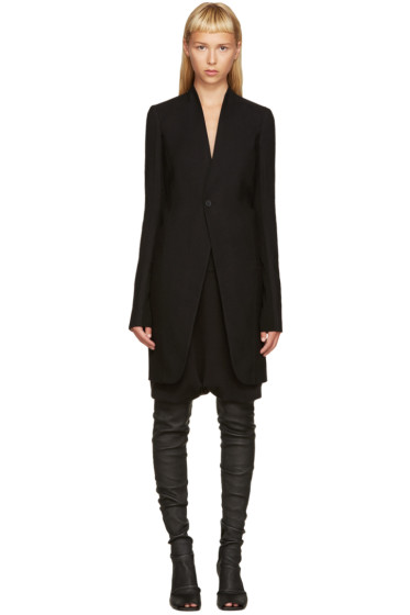 Rick Owens - Black Wool Plinth Coat