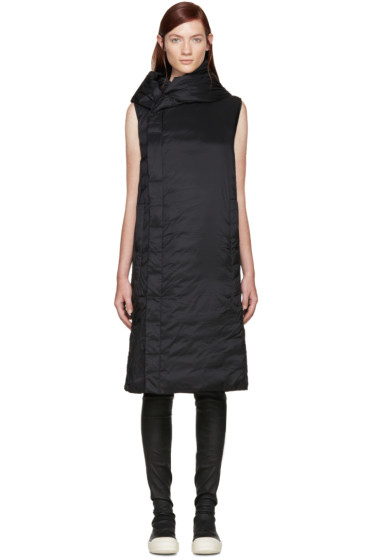 Rick Owens - Black Hooded Sleeveless Coat