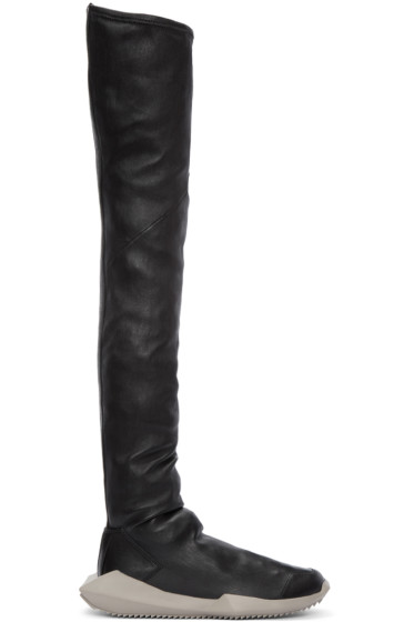 Rick Owens - Black adidas Edition Stretch Tech Runner Over-the-Knee Boots