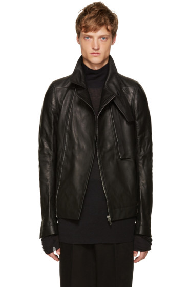 Rick Owens - Black Leather Trench Bomber Jacket