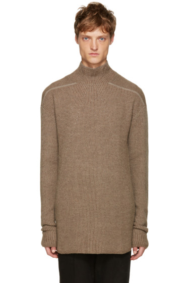 Rick Owens - Beige Mock Neck Sweater