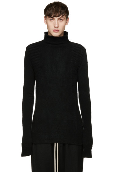 Rick Owens - Black Textured Turtleneck