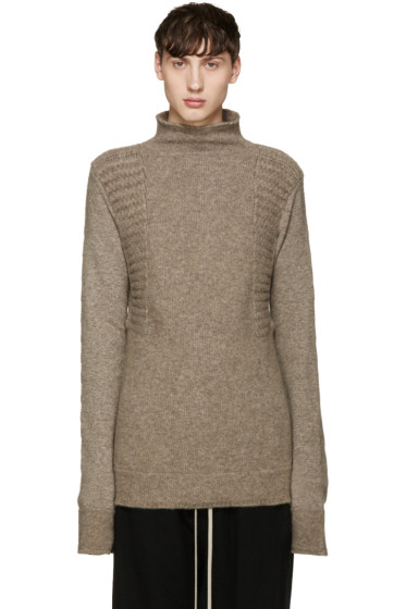 Rick Owens - Taupe Textured Turtleneck