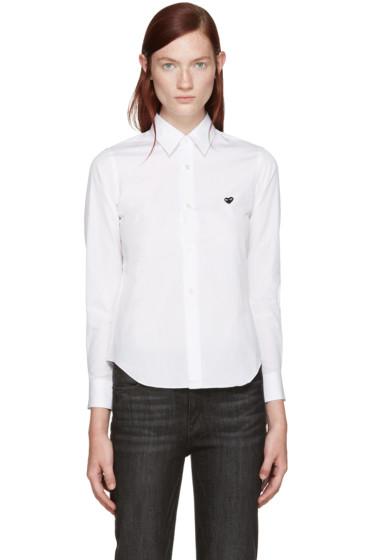 Comme des Garçons Play - White Poplin Small Heart Shirt
