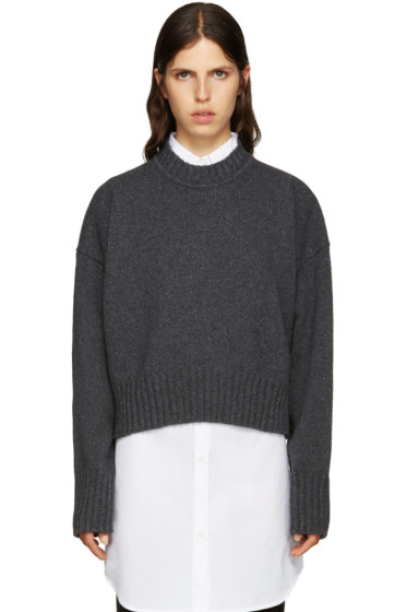 Jil Sander - Grey Wool Cropped Sweater