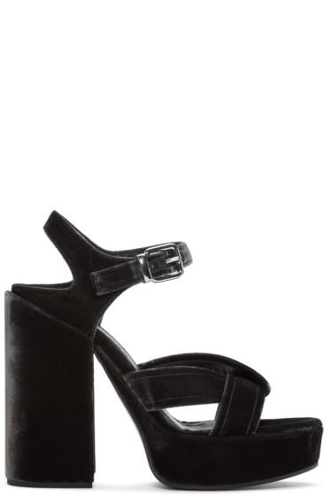Jil Sander - Grey Velvet Platform Sandals