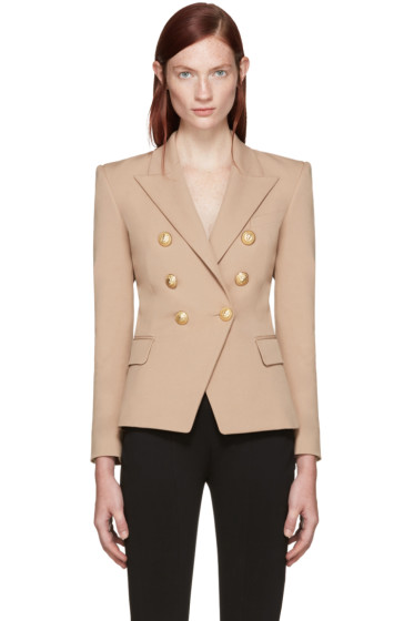 Balmain - Beige Double-Breasted Blazer
