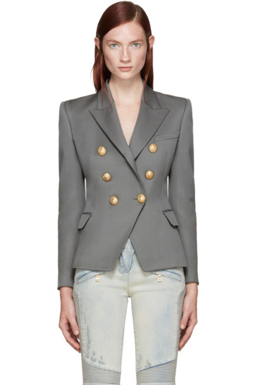 Balmain - Grey Double-Breasted Blazer