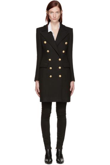 Balmain - Black Wool Classic Coat