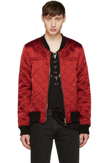 Balmain - Red Logo Patch Bomber Jacket