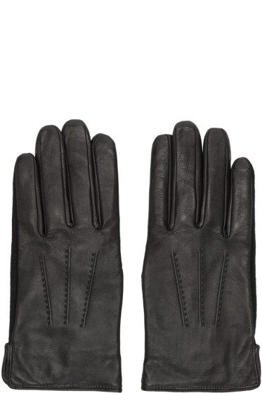 A.P.C. - Black Leather Luc Gloves