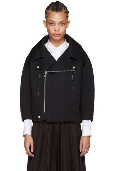 Junya Watanabe - Black Neoprene Oversized Jacket
