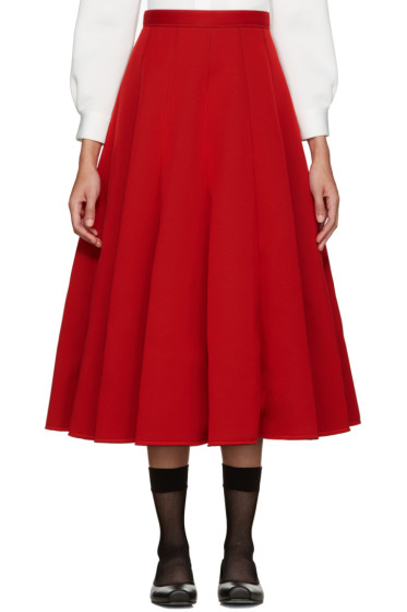 Junya Watanabe - Red Neoprene Pleated Skirt