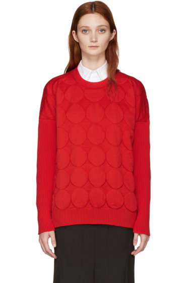Junya Watanabe - Red Jacquard Polka Dot Sweater