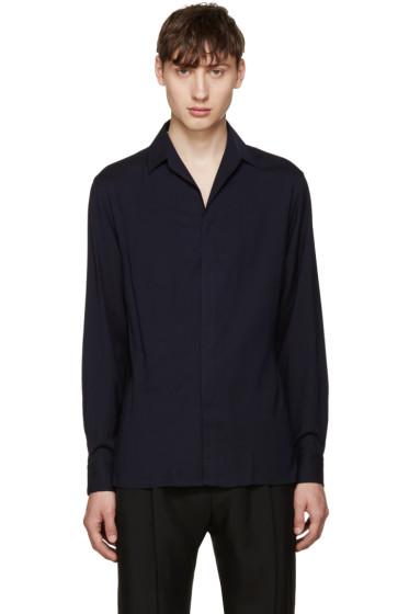 Lanvin - Navy Open Collar Shirt
