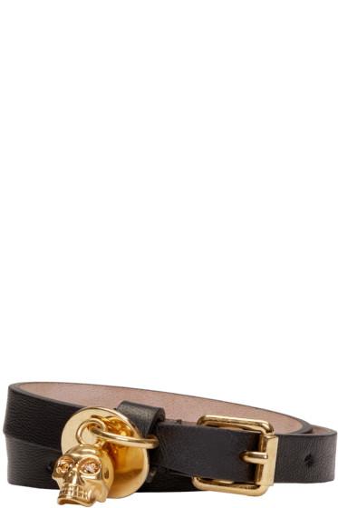 Alexander McQueen - Black Leather Double Wrap Bracelet